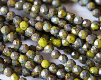 4mm Fire Polished Beads - Olive Green Picasso - Faceted Rounds - Czech Glass Beads - Bead Soup Beads
