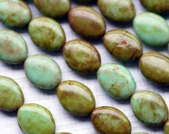 Czech Glass Beads - Mint Picasso Oval Beads - Opaque Green Beads - Picasso Beads - Bead Soup Beads