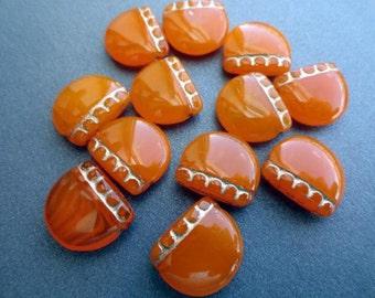 Czech Glass Beads - Orange Opal and Gold - Bead Soup Beads