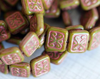 12x11mm Czech Glass Beads - Olive and Terra Cotta Rectangles - Compass Rectangle Beads - Rectangles - Compass - Bead Soup Beads