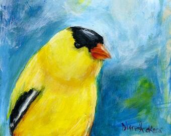 Original Acrylic painting goldfinch bird art wall art home decor