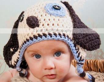 Baby boy hat, baby girl hat, crochet puppy hat, puppy, photo prop, baby shower gift, coming home outfit
