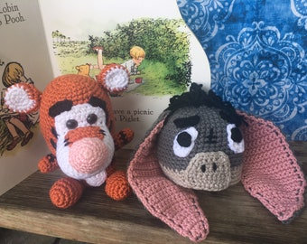Baby hat, Tigger, Eeyore, Crochet Pooh Bear, Disney Baby, Disney Nursery, photo prop, coming home outfit, baby shower gift, crochet toy