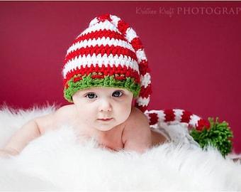 Baby boy hat, baby girl hat, crochet stocking cap, holiday hat, photo prop, first christmas, baby shower gift, crochet newborn hat