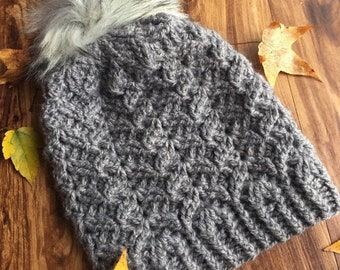 woman slouch hat, crochet slouch hat, slouch, beanie, autumn hat, christmas gift, birthday gift, faux fur, pom pom, chevron, winter hat