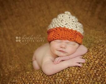 Newborn Pumpkin Spice Chunky Knit Cupcake -  Autumn Photo Prop