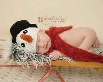Baby boy hat, baby girl hat, crochet snowman hat, snowman, frosty, photo prop, first christmas, baby shower gift, christmas baby, crochet