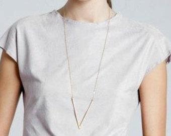 V shaped Necklace, Gold V Necklace, Geometric Necklace, Minimalist Necklace, Large Pendant Necklace, Gold Chevron Necklace, Modern Necklace.