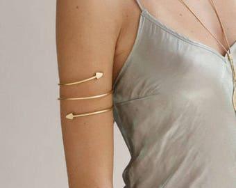 Gold Upper Arm Cuff Bracelet, Arrow Bracelet, Arrow Armband, Boho Cuff Bracelet, Gold upper arm Bracelet, Gold Arm Band, Gold Arm Cuff..