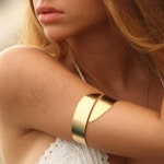 Greek Goddess Upper Arm Bracelet, Summer Beach Jewelry, Gold Upper Arm Cuff, Wide arm bracelet, Metalwork bracelet, Rose Gold Bracelet
