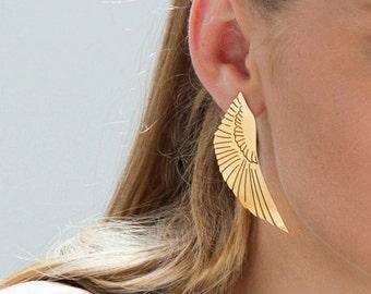 Wing Earrings, Phoenix Earrings, Boho Statement Earrings, Bird Earrings Stud, Statement Gold Earrings, Gold Bohemian Earrings, Edgy Earrings