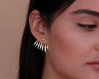 Ear Jacket, Unique Statement Earrings, Nature Jewelry, Gold Leaf Earrings, Gold Nature Earrings, Spike Earrings, Double Sided Earrings