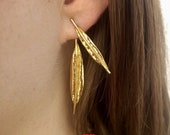 Rose Gold Ear Jacket Earrings, Front Back Earrings, Double Sided Earrings, Two Sided Earrings, Gold Leaf Leaves Earrings, Israel Jewelry