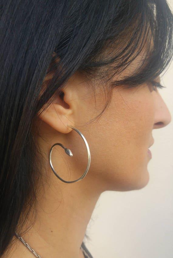Serpent earrings silver plated serpent earrings animal earrings silver plated earrings silver snake earrings silver Snake earrings