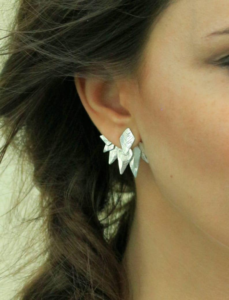 Ashanti. Crown Ear Cuff Spike earrings Edgy Earrings Ear Jacket Earring Silver Ear Jacket Silver Ear climber Sterling Silver Ear Cuff