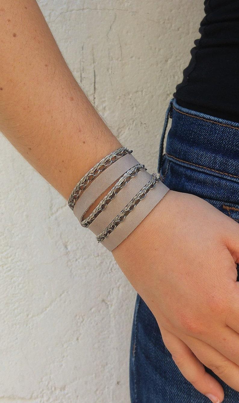 Triple Wrap Leather Bracelet Leather Silver Wrap Bracelet Women Leather and Silver Wrap Bracelet Multi Wrap Leather and Chain Bracelet