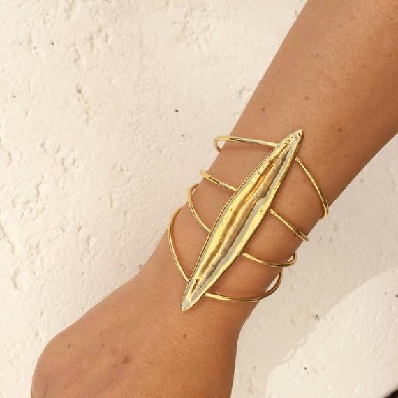 Statement Wide Bracelet Gold Cuff Bracelet with Red Carnelian Stone Wire Wrap Bracelet Elegant Bracelet for Woman