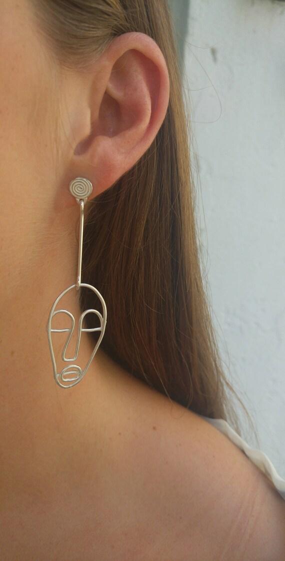 Übereinstimmende Ohrringe Silberdraht Gesicht Ohrringe   Etsy