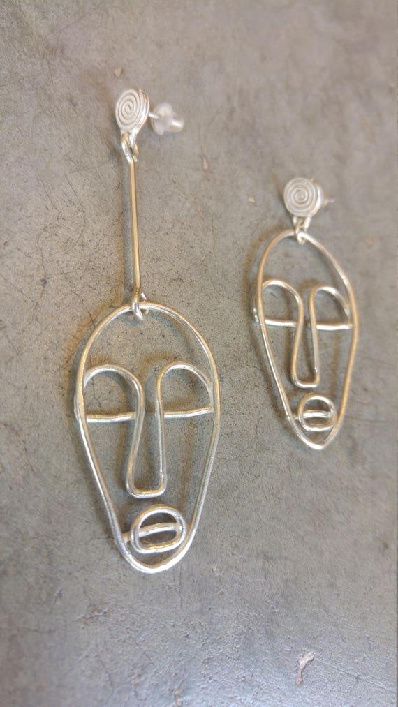 Sterling Silber Gesicht Ohrringe Draht-Gesicht-Ohrring