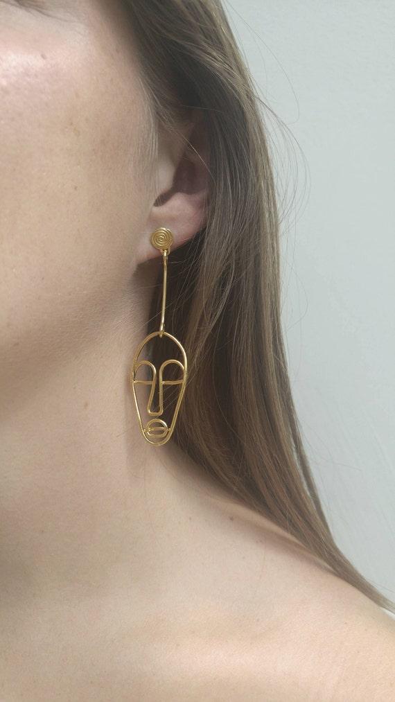 Einzelne Ohrring Gold Draht Gesicht Ohrringe Aussage Ohrringe | Etsy