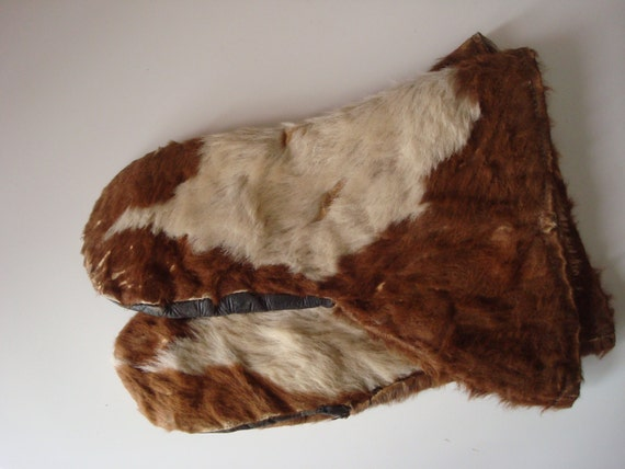 Genuine cowhide mittens  vintage outerwear gloves