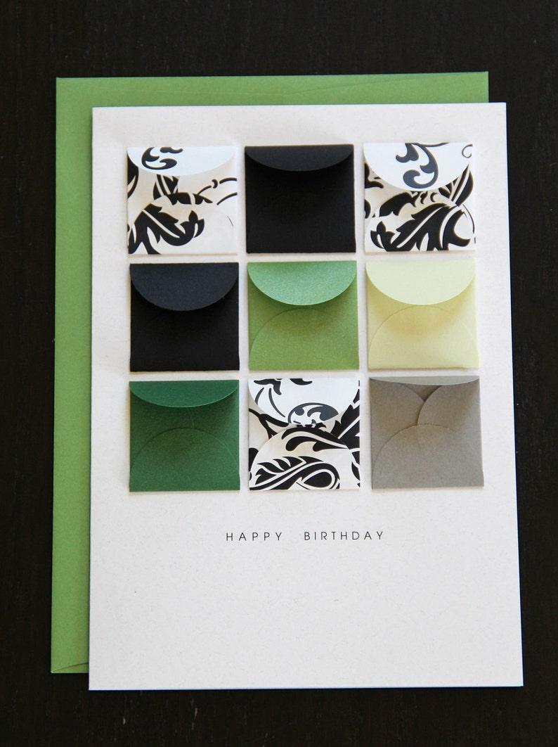 happy birthday emerald tiny envelopes card  etsy