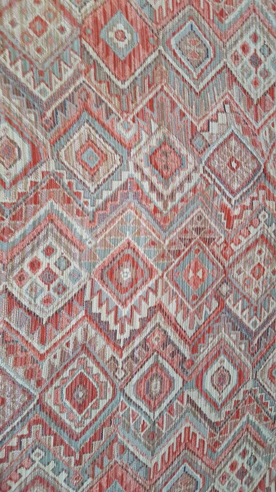 Ethnic Chenille Tapestry Coral Aqua Beige Upholstery Fabric Etsy