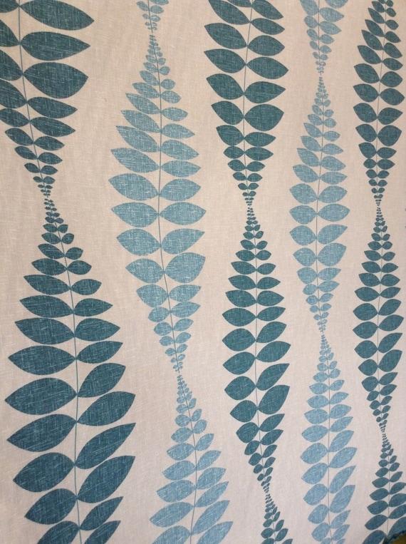 Turquoise Aqua Ivory Retro Cotton Leaf Print Drapery Etsy