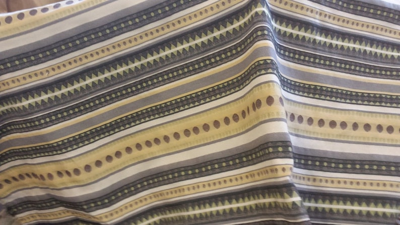 Lemon yellow grey lime green black RAILROADED COTTON STRIPE upholstery fabric home decor,26-49-13-1111