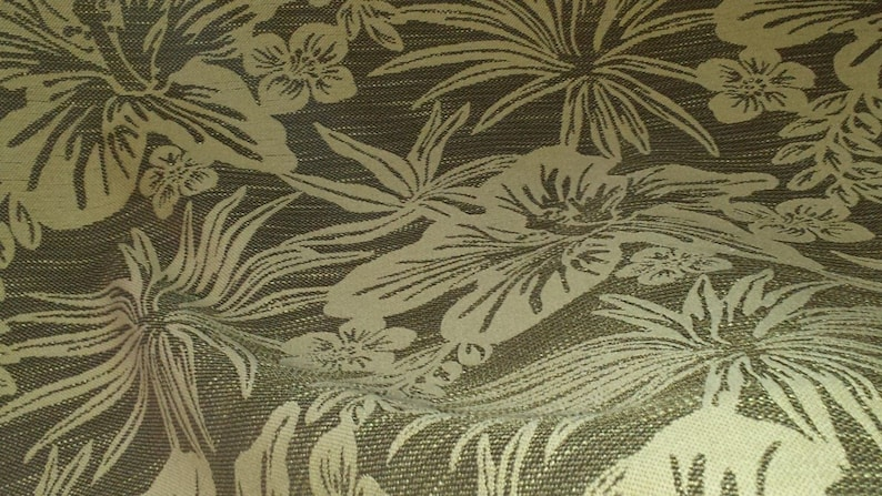 heavy woven upholstery fabric 07-29-07-1112 brown tan TROPICAL FLORAL 1.5 yard pc REVERSIBLE