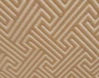 Beige TAN and Cream Off WHITE Woven  Cotton GEOMETRIC Upholstery Fabric, 08-14-02-1214