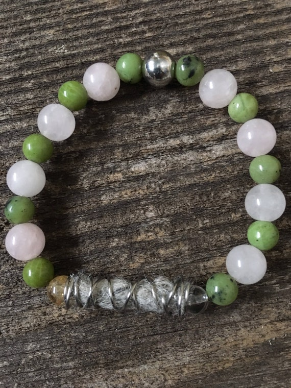 Rose Quartz, Canadian Jade, Peaceful Wool, Crystal Quartz, Citrine & Stainless Steel Ivan Bracelet.  Intention.  Meditation.  Mindfulness.