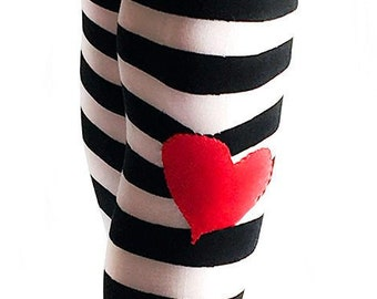 11e076fd9aed7 Alice in Wonderland Black and White striped tights with or Without Heart  Knee patch. Alice tights red black and white