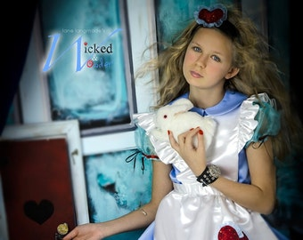 ALICE in Wonderland Dress - Alice in Wonderland Custom Costume, Blue Alice Dress for Girls, Wonderland Halloween Costume or Cosplay dress
