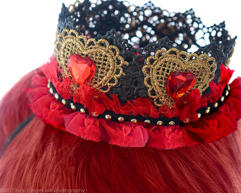 1edf17140f Iracebeth Red Queen CrownBlack lace Red Crystal Hearts crown