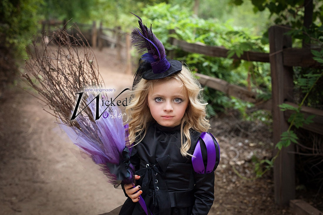 eb250f22c2c Witch Halloween Costume for GIRLS, deluxe custom sized Wicked Witch dress  like the Wicked Witch of the West in purple and black