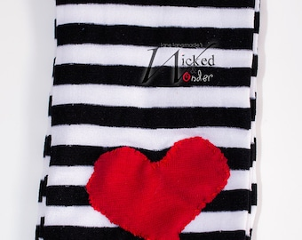 Peanut Big Top Lalaloopsy Tights Black and White striped with Red Heart for Children