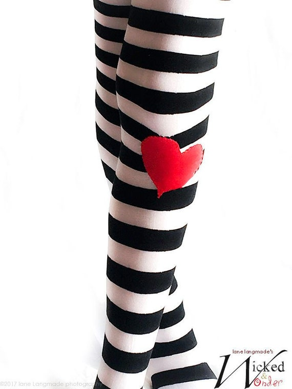 7dc93262da78a Alice in Wonderland Black and White striped tights with or   Etsy
