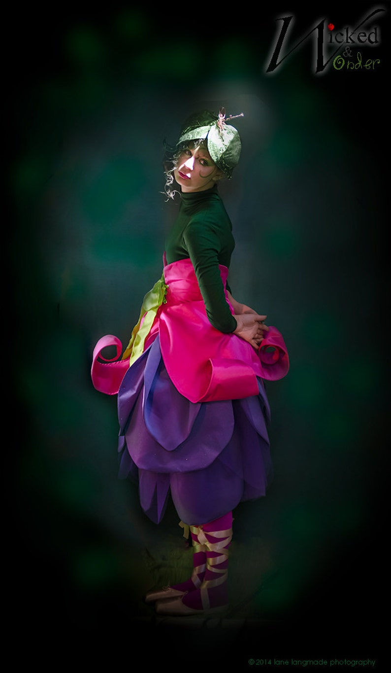 135555bb5 Girls Fairy Costume or Elf Costume, Flower Costume, Fuchsia with Purple  Petals and Hot pink Calyx Belt for Halloween or cosplay