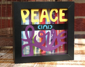 Peace and Love Original Hand Cut Paper Framed Wall or Desk Art