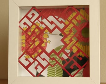 Scarlet Maze of Flowers Original Hand Cut Paper Framed Wall or Desk Art