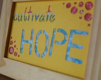 Cultivate Hope Motivational Cut Paper Framed Wall Art