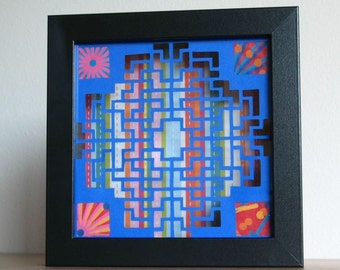 A Summer of Tetris Original Hand Cut Paper Framed Wall or Desk Art