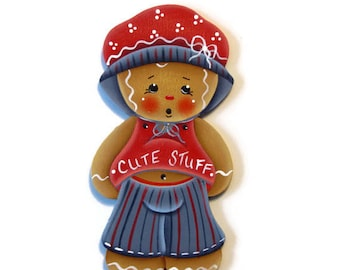 Cute Stuff Ginger Ornament or Fridge Magnet, Handpainted Wood Gingerbread Refrigerator Magnet, Hand Painted Ginger, Tole Painting