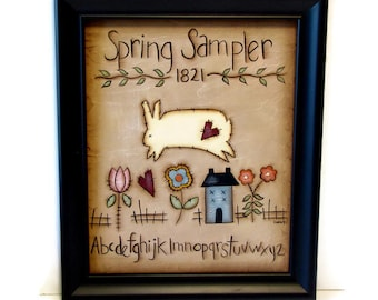 Primitive Spring Bunny Sampler, Handpainted 8x10 Canvas, Framed or Unframed,  Hand Painted Prim Home Decor,  Tole Decorative Painting, L1