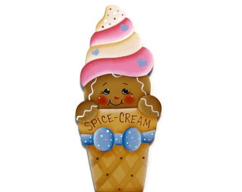 Ginger in Ice Cream Cone Fridge Magnet or Ornament, Handpainted Wood Gingerbread Refrigerator Magnet, Hand Painted, Tole Decorative Painting