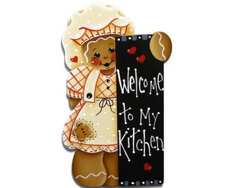 Welcome To My Kitchen Ginger Fridge Magnet or Ornament, Handpainted Wood, Hand Painted Gingerbread Ornament, Tole Decorative Painting