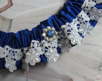 Royal Blue Garter with Venice Lace and Vintage Centrepiece