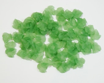 50 Large Green Acylic Lucite Frosted Leaf Charms For Jewellery Making, Earrings, Arts and Crafts