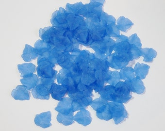 50 Large Blue Acylic Lucite Frosted Leaf Charms For Jewellery Making, Earrings, Arts and Crafts
